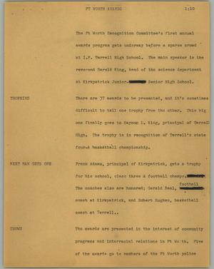 Primary view of object titled '[News Script: Ft Worth awards]'.