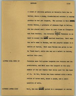 Primary view of object titled '[News Script: Leopard]'.