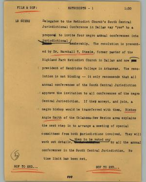Primary view of object titled '[News Script: Methodists]'.