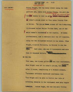 Primary view of object titled '[News Script: Civitan Open]'.