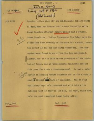 Primary view of object titled '[News Script: Bob Looney]'.