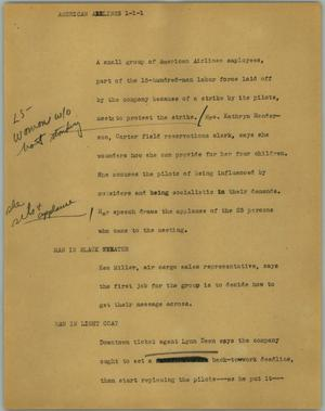 Primary view of object titled '[News Script: American Airlines]'.