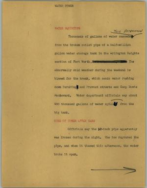 Primary view of object titled '[News Script: Water tower]'.