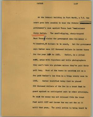 Primary view of object titled '[News Script: Sadler]'.