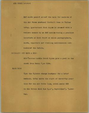Primary view of object titled '[News Script: Air Force]'.
