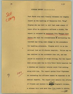 Primary view of object titled '[News Script: Bingham report]'.