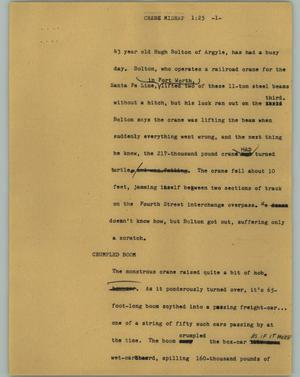 Primary view of object titled '[News Script: Crane Mishap]'.