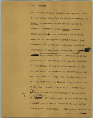 Primary view of object titled '[News Script: Dam drillers]'.