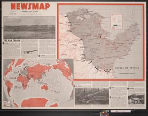 Primary view of object titled 'Newsmap. Monday, May 3, 1943 : week of April 23 to April 30, 190th week of the war, 72nd week of U.S. participation'.