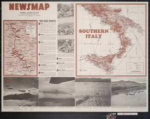 Primary view of object titled 'Newsmap. Monday, August 30, 1943 : week of August 19 to August 26, 207th week of the war, 89th week of U.S. participation'.