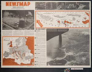 Primary view of object titled 'Newsmap. Monday, August 23, 1943 : week of August 12 to August 19, 206th week of the war, 88th week of U.S. participation'.