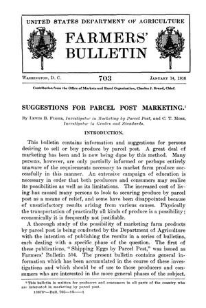 Primary view of object titled 'Suggestions for Parcel Post Marketing'.