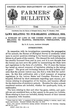 Primary view of object titled 'Laws Relating to Fur-Bearing Animals, 1915'.