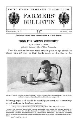 Primary view of object titled 'Food for Young Children'.