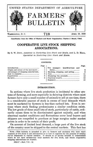 Primary view of object titled 'Cooperative Live Stock Shipping Associations'.