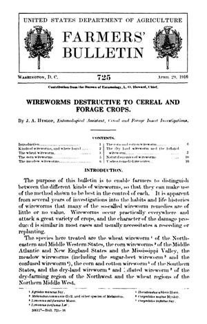 Primary view of object titled 'Wireworms Destructive to Cereal and Forage Crops'.