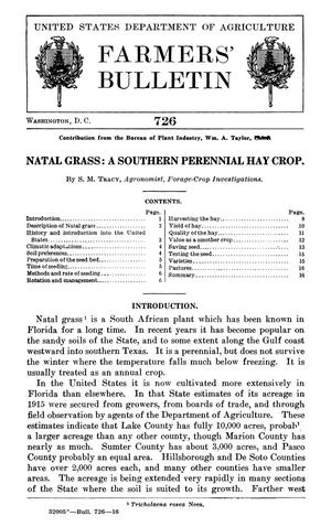 Primary view of object titled 'Natal Grass: A Southern Perennial Hay Crop'.