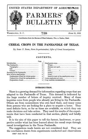 Primary view of object titled 'Cereal Crops in the Panhandle of Texas'.