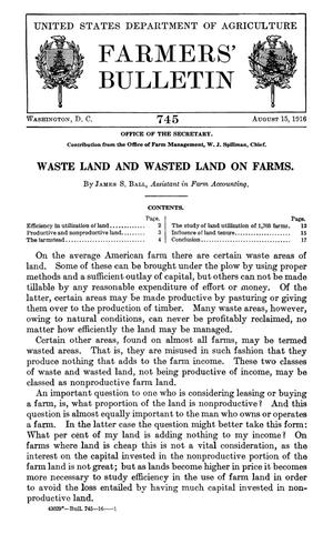 Primary view of object titled 'Waste Land and Wasted Land on Farms'.