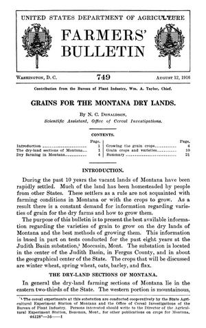 Primary view of object titled 'Grains for the Montana Dry Lands'.