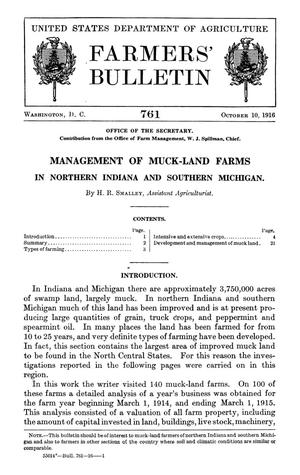 Primary view of object titled 'Management of Muck-Land Farms in Northern Indiana and Southern Michigan'.
