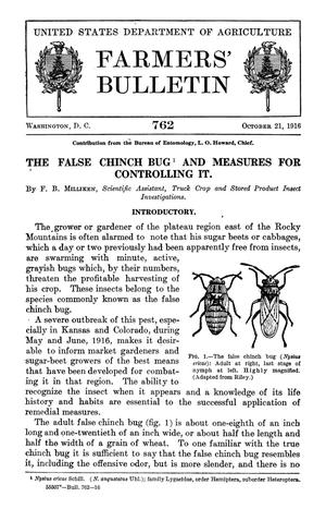 Primary view of object titled 'The False Chinch Bug and Measures for Controlling It'.