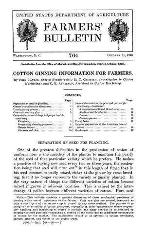 Primary view of object titled 'Cotton Ginning Information for Farmers'.
