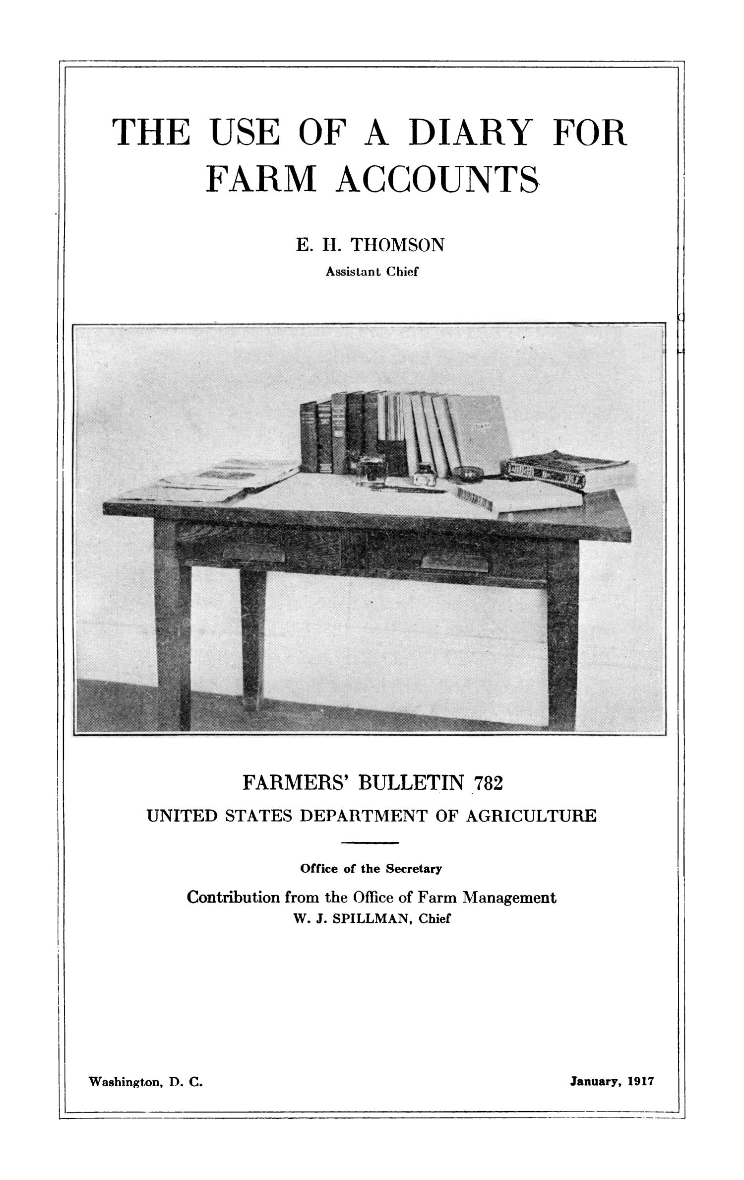 The Use of a Diary for Farm Accounts                                                                                                      Title Page