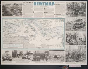 Primary view of object titled 'Newsmap. Monday, August 9, 1943 : week of July 29 to August 5, 204th week of the war, 86th week of U.S. participation'.