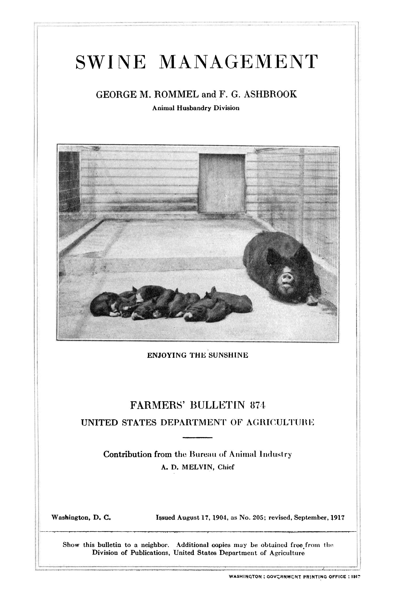 Swine Management                                                                                                      Title Page