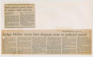 Primary view of object titled '[Newspaper Clipping: State judicial panel asked to resolve clash with DA]'.