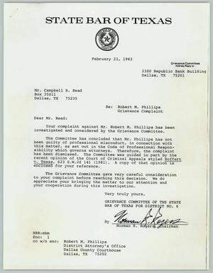 Primary view of object titled '[Letter from the State Bar of Texas rejecting complaint]'.