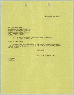 Primary view of object titled '[Letter Response: Bob Phillips on Richard Schwiderski v. State of Texas appeal]'.
