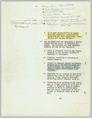 Primary view of object titled '[Rules and regulations for flight attendance employees]'.