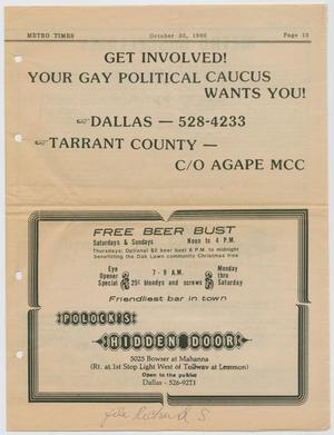 Primary view of object titled '[Newspaper Clippings about the Dallas Gay Political Caucus]'.