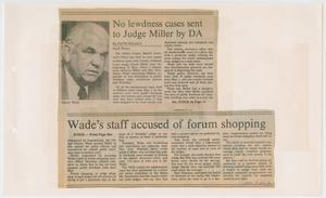 Primary view of object titled '[Newspaper Clipping: No lewdness cases sent to Judge Miller by DA]'.