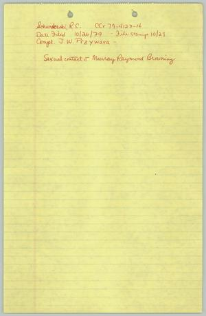 Primary view of object titled '[Notes on Richard Schwiderski v. the State of Texas]'.