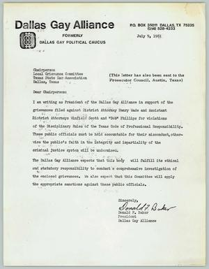 Primary view of object titled '[Letter from Don Baker sent to the Dallas Grievance Committee]'.