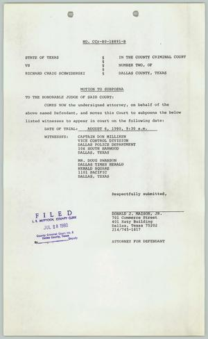 Primary view of object titled '[Motion to subpoena witnesses]'.