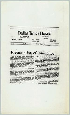 Primary view of object titled '[Newspaper Clipping: Presumption of innocence]'.