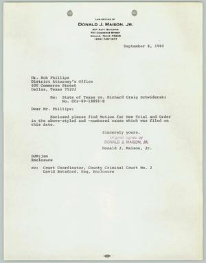 Primary view of object titled '[Letter: Motion for a new trial of Richard Schwiderski v. the State of Texas]'.