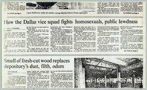 Primary view of object titled '[Newspaper: How the Dallas vice squad fights homosexuals, public lewdness]'.
