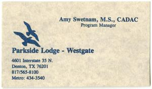 Primary view of object titled '[Parkside Lodge-Westside: Amy Swetman business card]'.