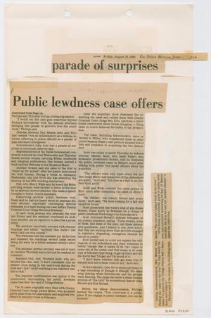 Primary view of object titled '[Newspaper Clipping: Public lewdness case offers parade of surprises]'.