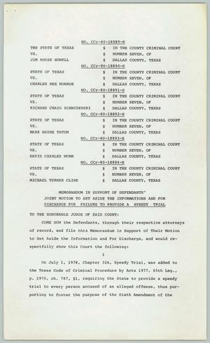 Primary view of object titled '[Texas court cases: Memorandum in support of defendants]'.