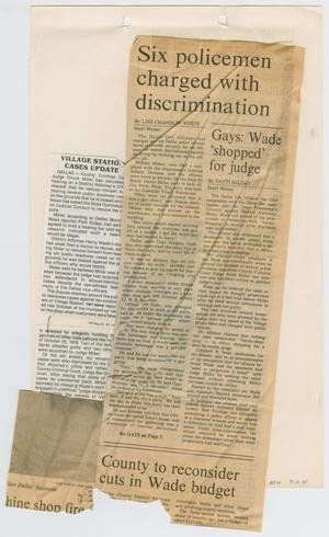 Primary view of object titled '[Newspaper Clipping: Six policemen charged with discrimination]'.