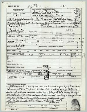 Primary view of object titled '[Orval D. Austin's arrest report]'.