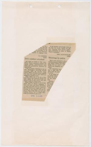 Primary view of object titled '[Newspaper Clipping: DA's conduct attacked]'.