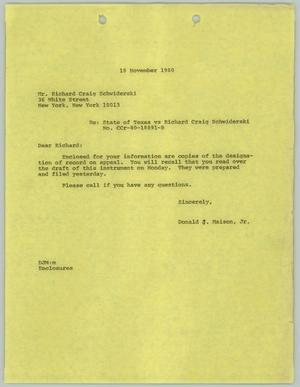 Primary view of object titled '[Letter: Court appeal of Richard Schwiderski v. State of Texas]'.
