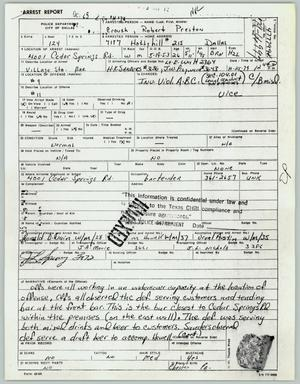 Primary view of object titled '[Robert P. Crouch's arrest report]'.
